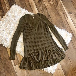 Free People Olive Knitted Ruffle Tunic